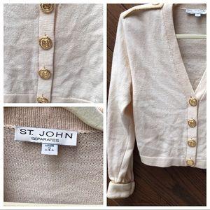St John Vtg Creme military style sweater medium